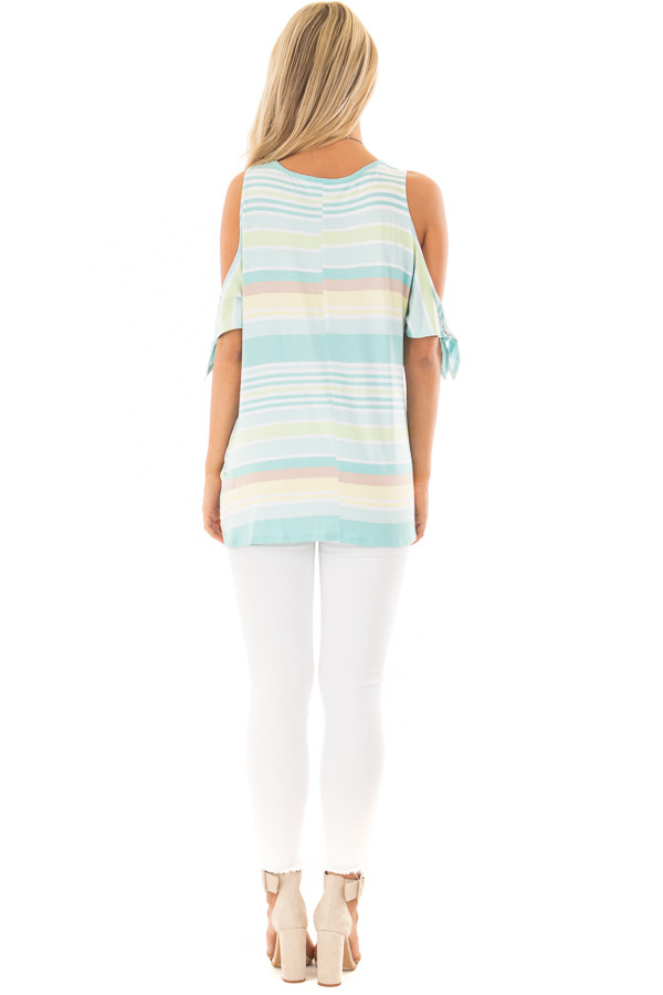 Mint Striped Cold Shoulder Top with Front Twist back full body