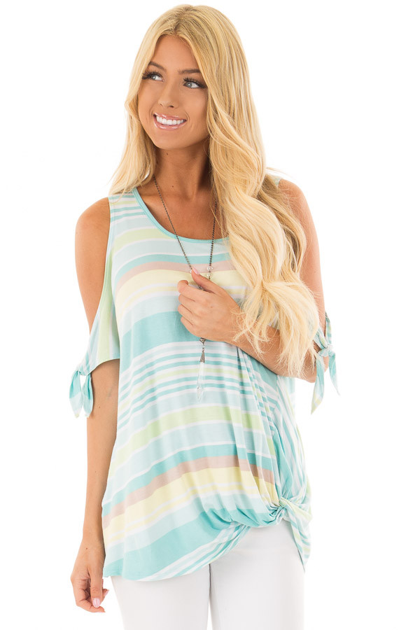 Mint Striped Cold Shoulder Top with Front Twist front closeup