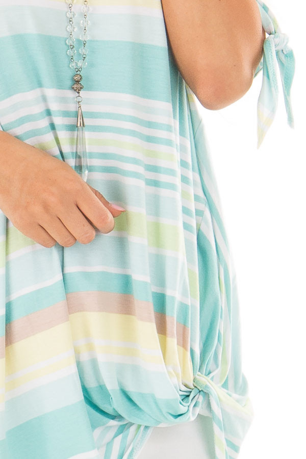 Mint Striped Cold Shoulder Top with Front Twist front detail