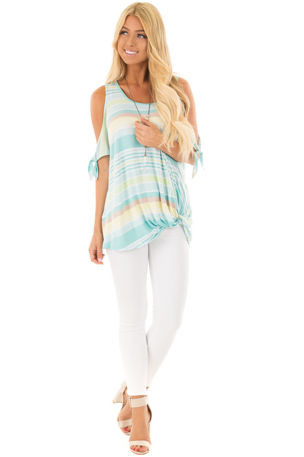 Mint Striped Cold Shoulder Top with Front Twist front full body