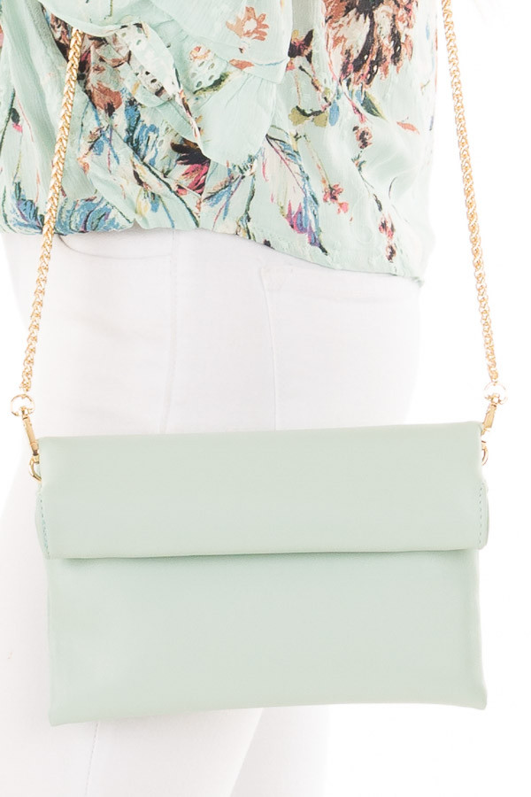 Mint Faux Leather Roll Over Clutch side detail