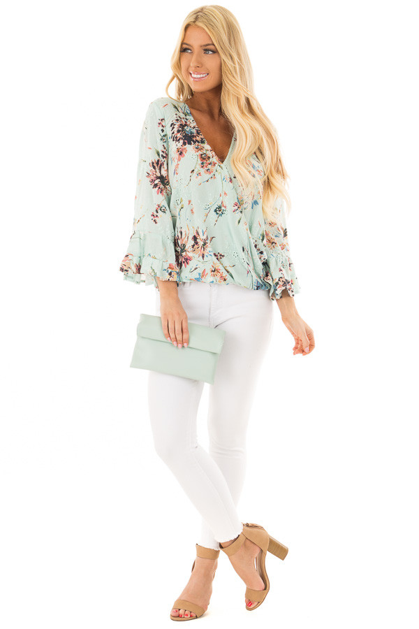 Mint Faux Leather Roll Over Clutch front full body