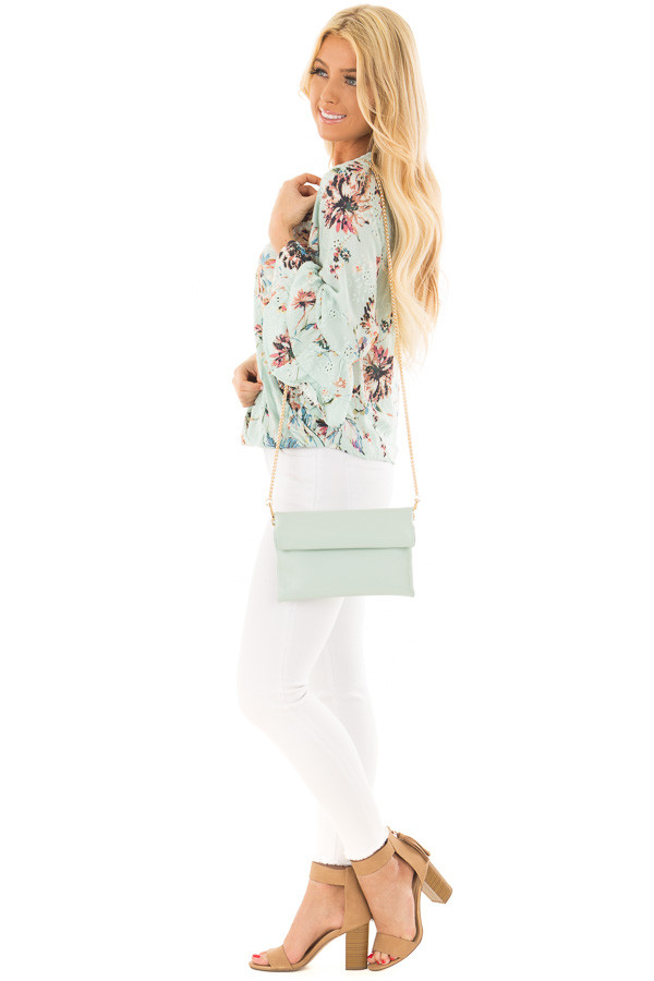 Mint Faux Leather Roll Over Clutch side full body