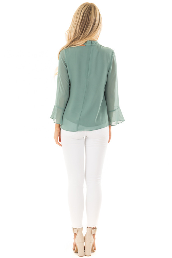 Moss Green Long Sleeve Blouse with Cut Out Neckline back full body