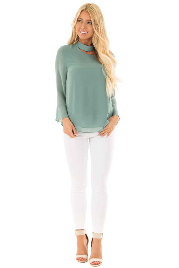 Moss Green Long Sleeve Blouse with Cut Out Neckline front full body