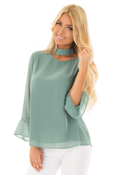 Moss Green Long Sleeve Blouse with Cut Out Neckline front closeup
