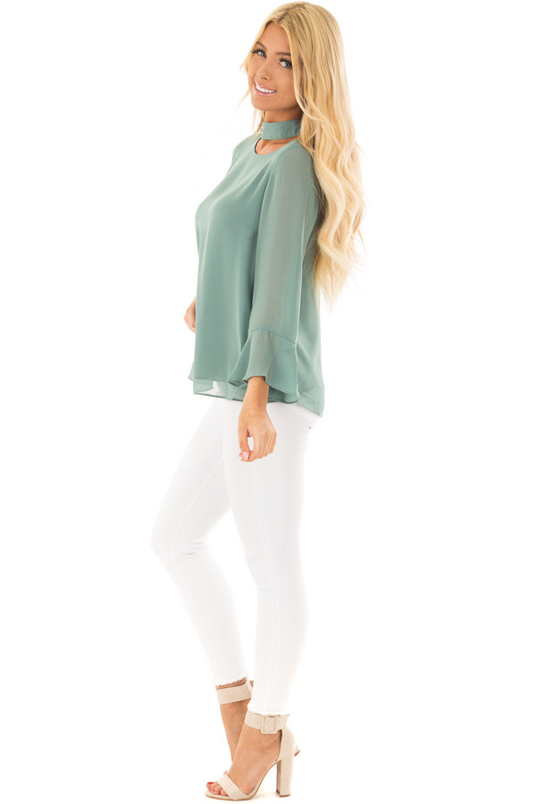 Moss Green Long Sleeve Blouse with Cut Out Neckline side full body