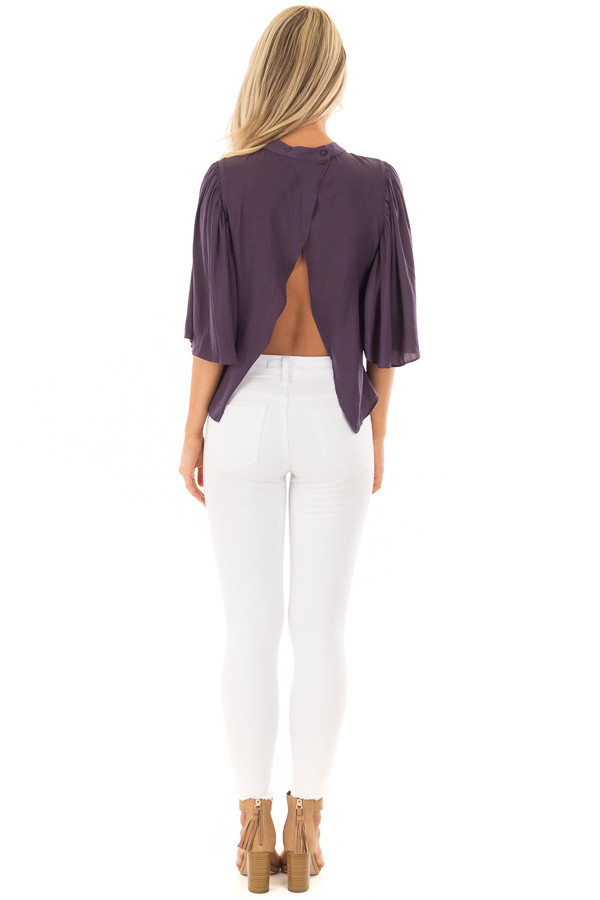 Deep Plum Bell Sleeve Top with Split Back Detail back full body