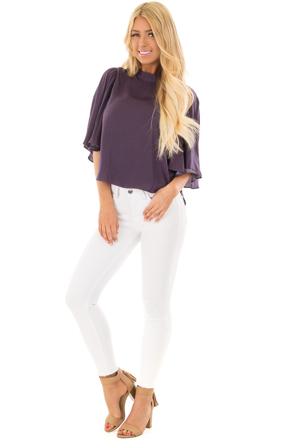 Deep Plum Bell Sleeve Top with Split Back Detail front full body