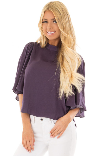 Deep Plum Bell Sleeve Top with Split Back Detail front closeup