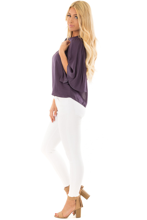 Deep Plum Bell Sleeve Top with Split Back Detail side full body