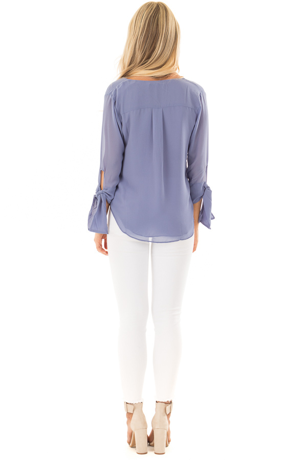 Dusty Blue Surplice Blouse with Tie Sleeve Details back full body