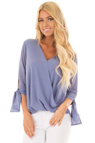 Dusty Blue Surplice Blouse with Tie Sleeve Details front closeup
