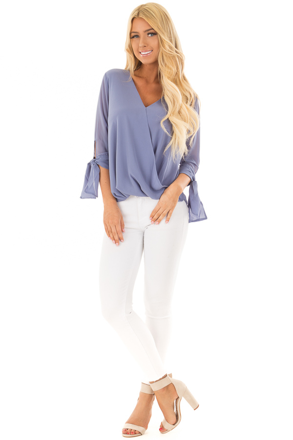 Dusty Blue Surplice Blouse with Tie Sleeve Details front full body