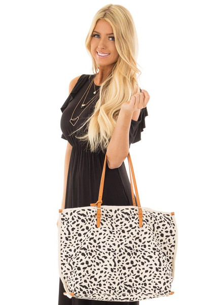 Ivory and Black Leopard Print Canvas Tote with Money Pouch front closeup