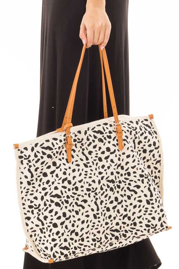 Ivory and Black Leopard Print Canvas Tote with Money Pouch detail