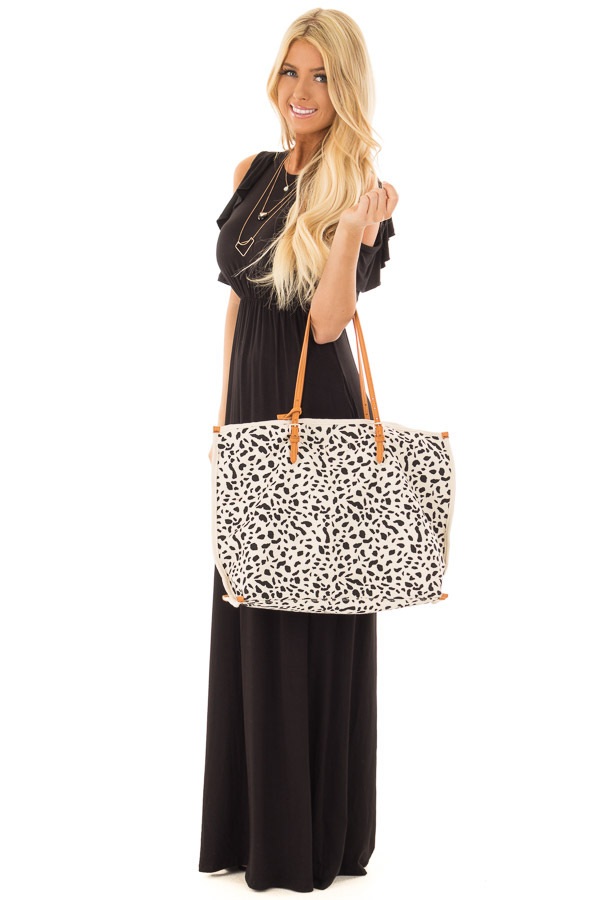 Ivory and Black Leopard Print Canvas Tote with Money Pouch front full body