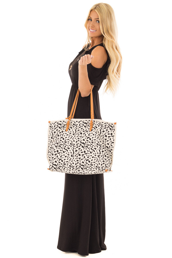 Ivory and Black Leopard Print Canvas Tote with Money Pouch side full body