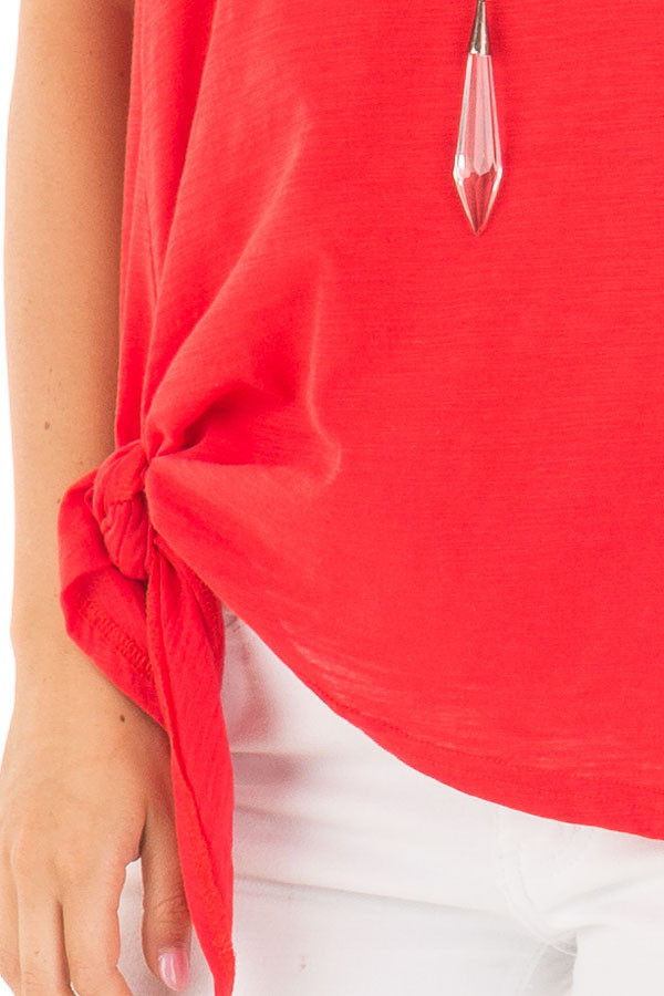 Cherry Red Tank with Side Tie Detail front detail