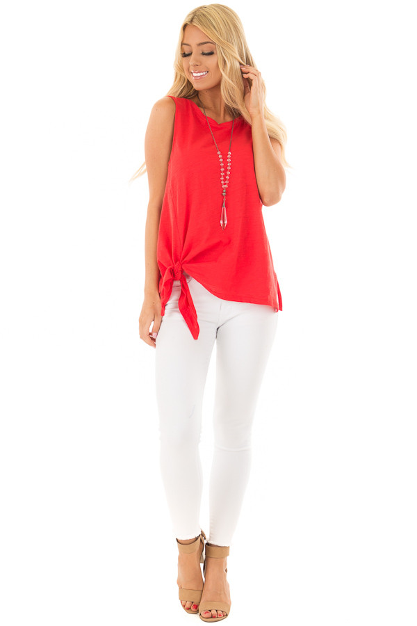 Cherry Red Tank with Side Tie Detail front full body