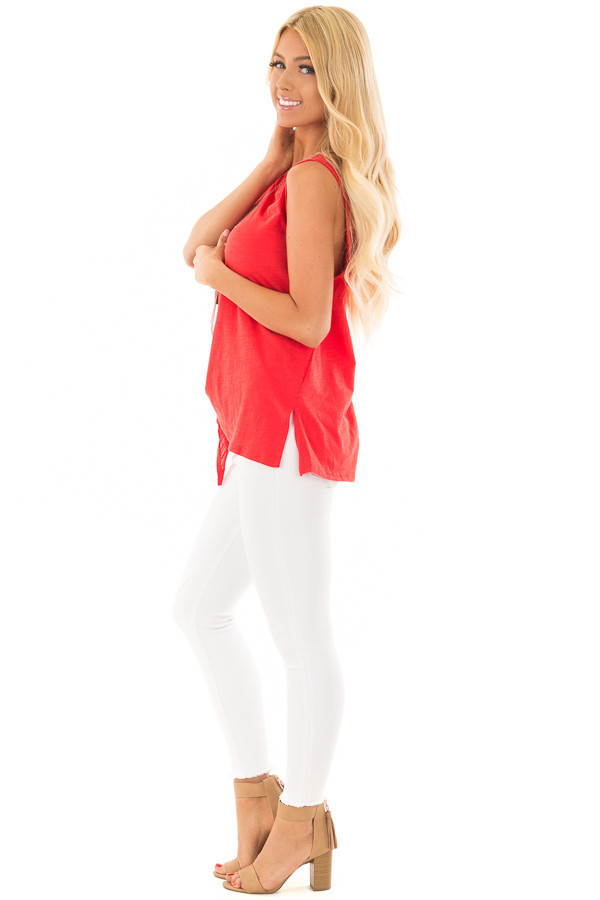 Cherry Red Tank with Side Tie Detail side full body