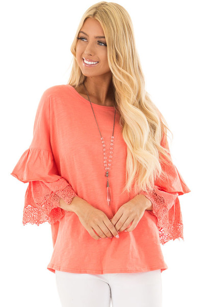 Coral Top with Layered Crochet Bell Sleeves front closeup