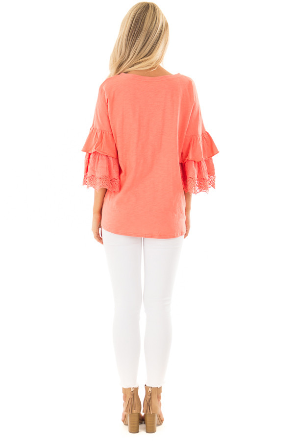 Coral Top with Layered Crochet Bell Sleeves back full body