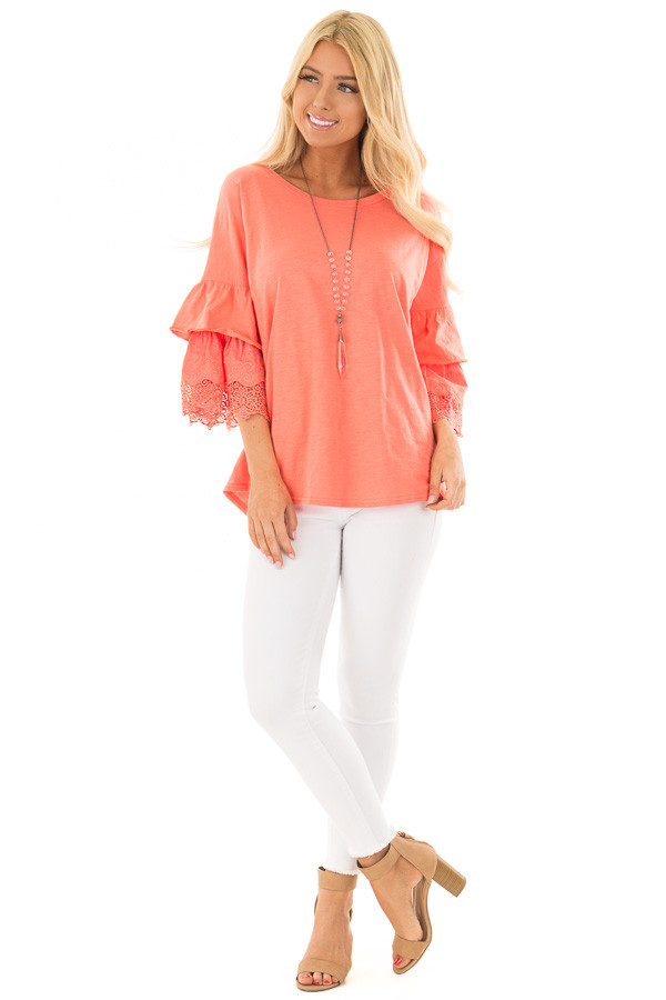 Coral Top with Layered Crochet Bell Sleeves front full body