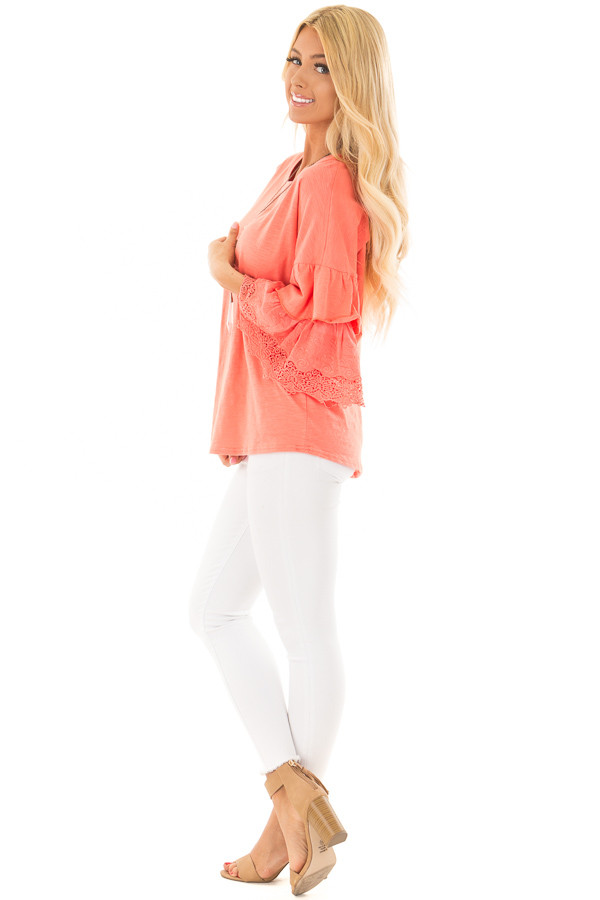 Coral Top with Layered Crochet Bell Sleeves side full body