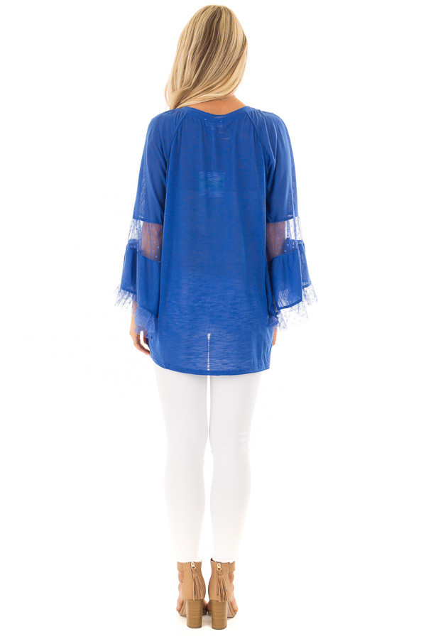 Cobalt Long Bell Sleeve Top with Sheer Polka Dot Details back full body