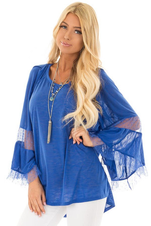 Cobalt Long Bell Sleeve Top with Sheer Polka Dot Details front closeup