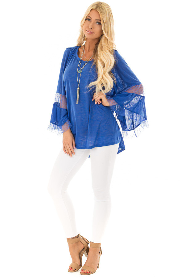 Cobalt Long Bell Sleeve Top with Sheer Polka Dot Details front full body