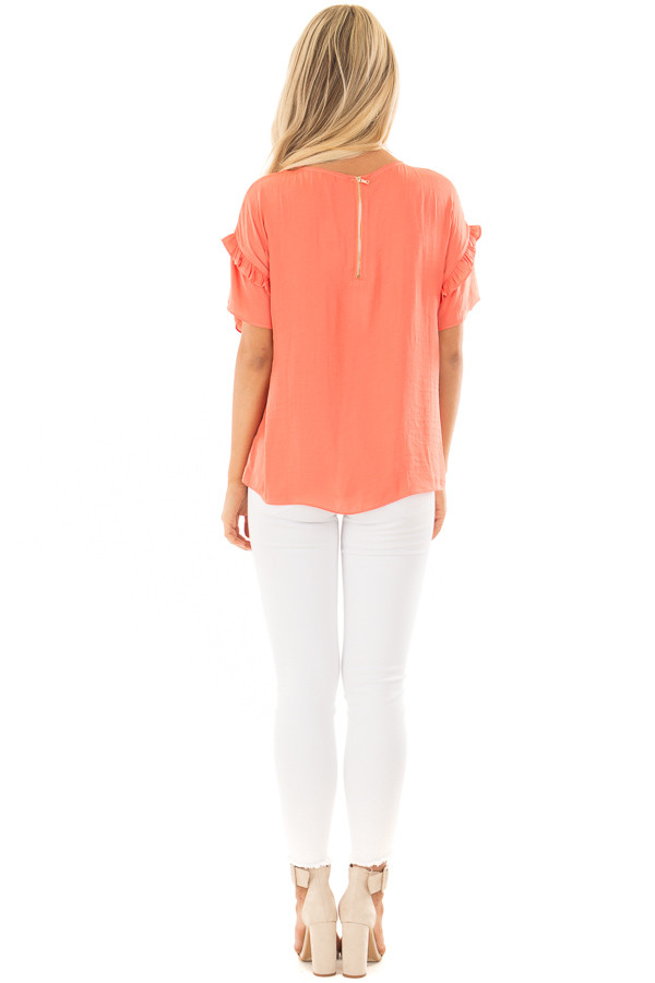 Salmon Short Sleeve Silky Blouse with Ruffle Detail back full body