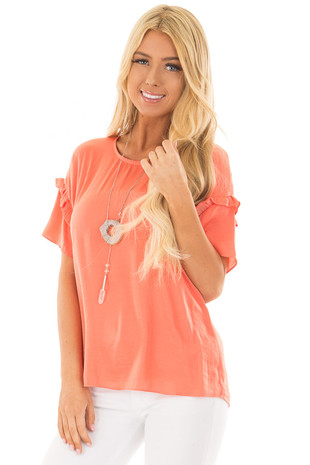 Salmon Short Sleeve Silky Blouse with Ruffle Detail front closeup