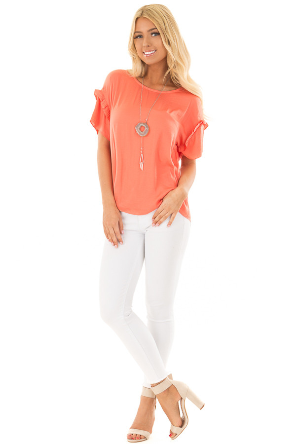 Salmon Short Sleeve Silky Blouse with Ruffle Detail front full body