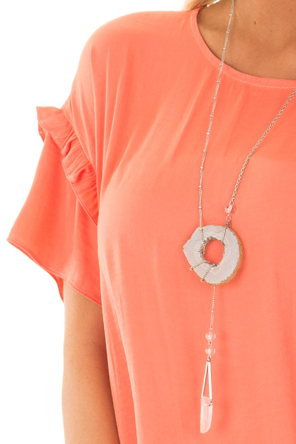 Salmon Short Sleeve Silky Blouse with Ruffle Detail front detail