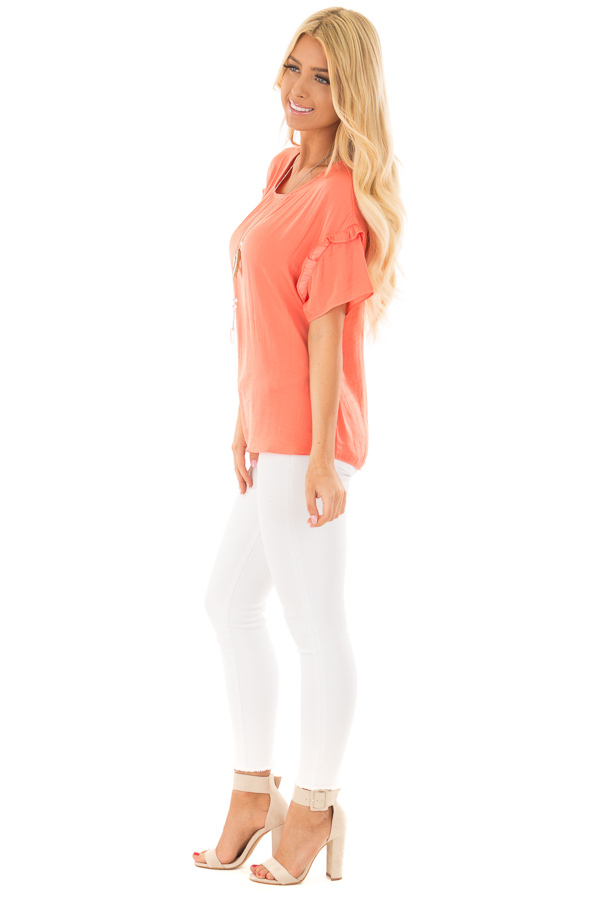 Salmon Short Sleeve Silky Blouse with Ruffle Detail side full body