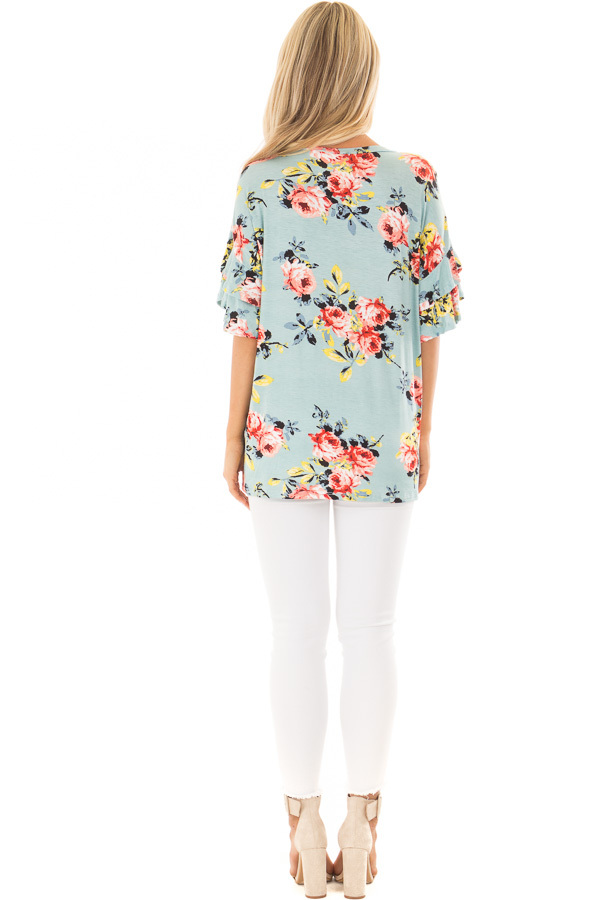 Sky Blue Multi Floral Top with Ruffle Sleeves back full body