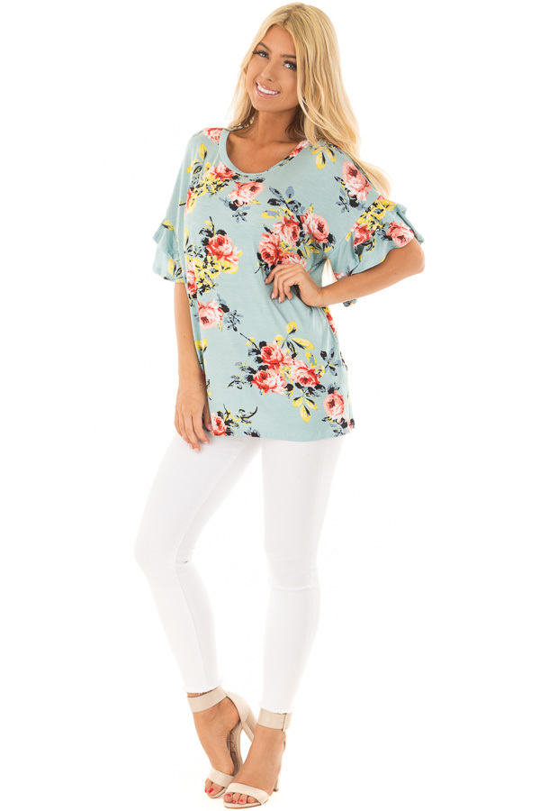 Sky Blue Multi Floral Top with Ruffle Sleeves front full body