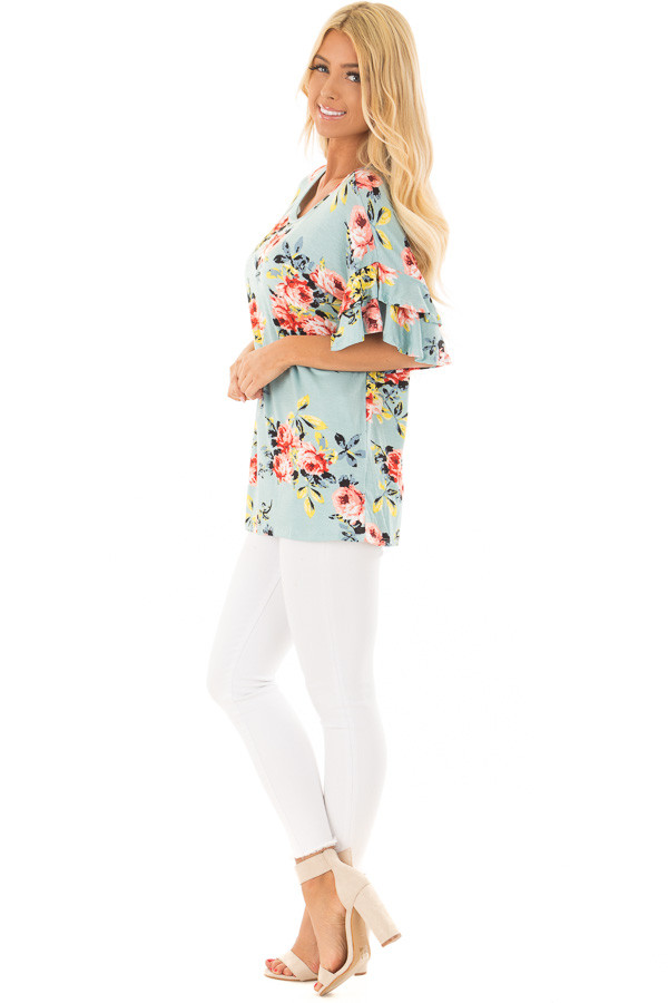 Sky Blue Multi Floral Top with Ruffle Sleeves side full body