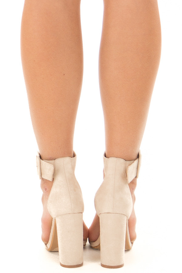 Nude Faux Suede High Heel with Thick Buckle Ankle Strap back