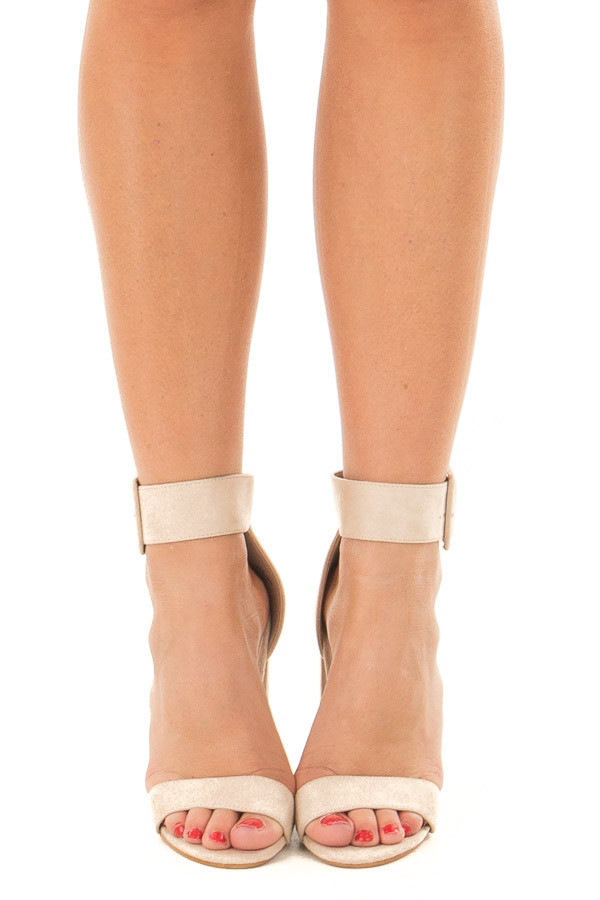 Nude Faux Suede High Heel with Thick Buckle Ankle Strap front