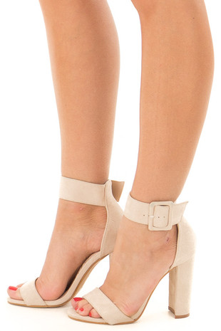 Nude Faux Suede High Heel with Thick Buckle Ankle Strap side