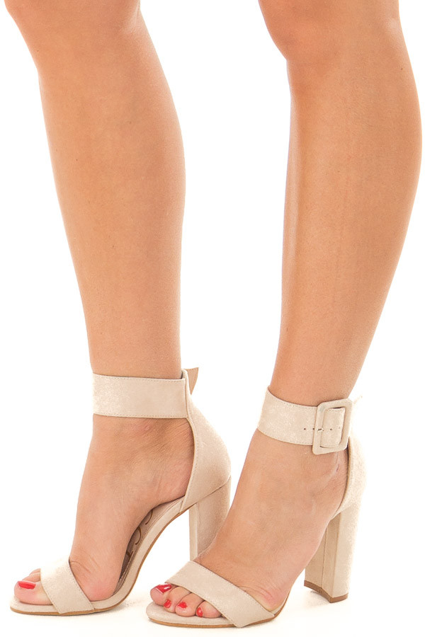 Nude Faux Suede High Heel with Thick Buckle Ankle Strap front side