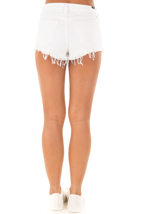 White Denim High Waisted Frayed Shorts back view