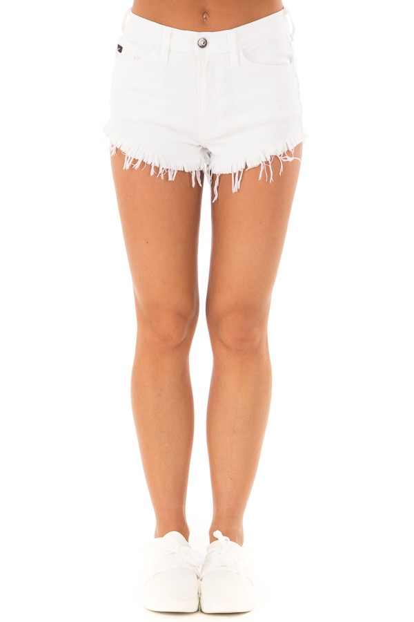 White Denim High Waisted Frayed Shorts front view