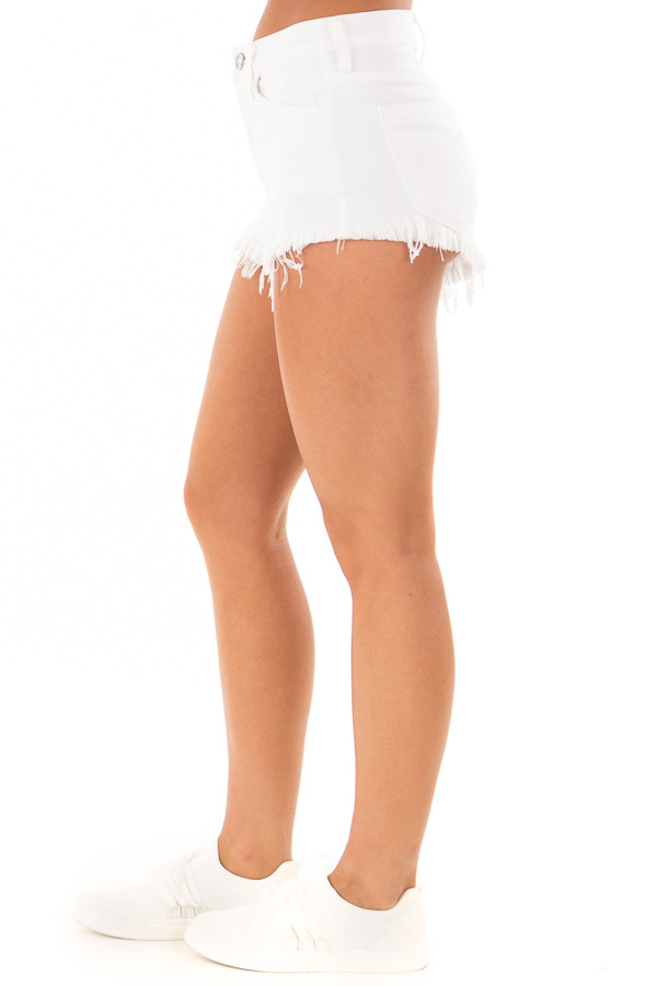 White Denim High Waisted Frayed Shorts side view