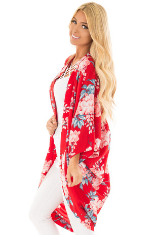 Lipstick Red Floral Kimono side close up