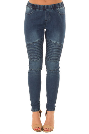 Medium Denim Moto Jeggings front view