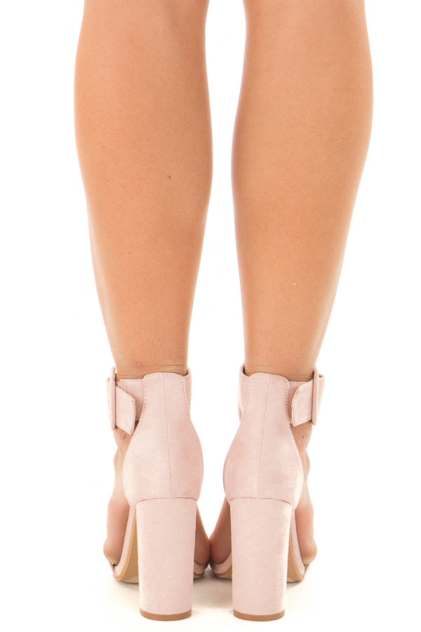 Mauve Faux Suede High Heel with Thick Buckle Ankle Strap back